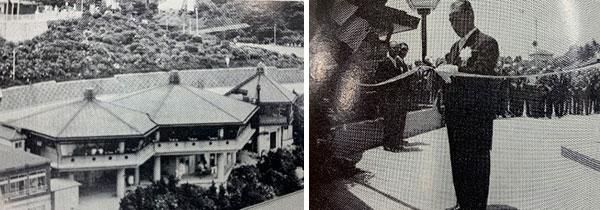(左)1976年当時の様子(右)中村三郎社長(開業当時)によるテープカットの様子